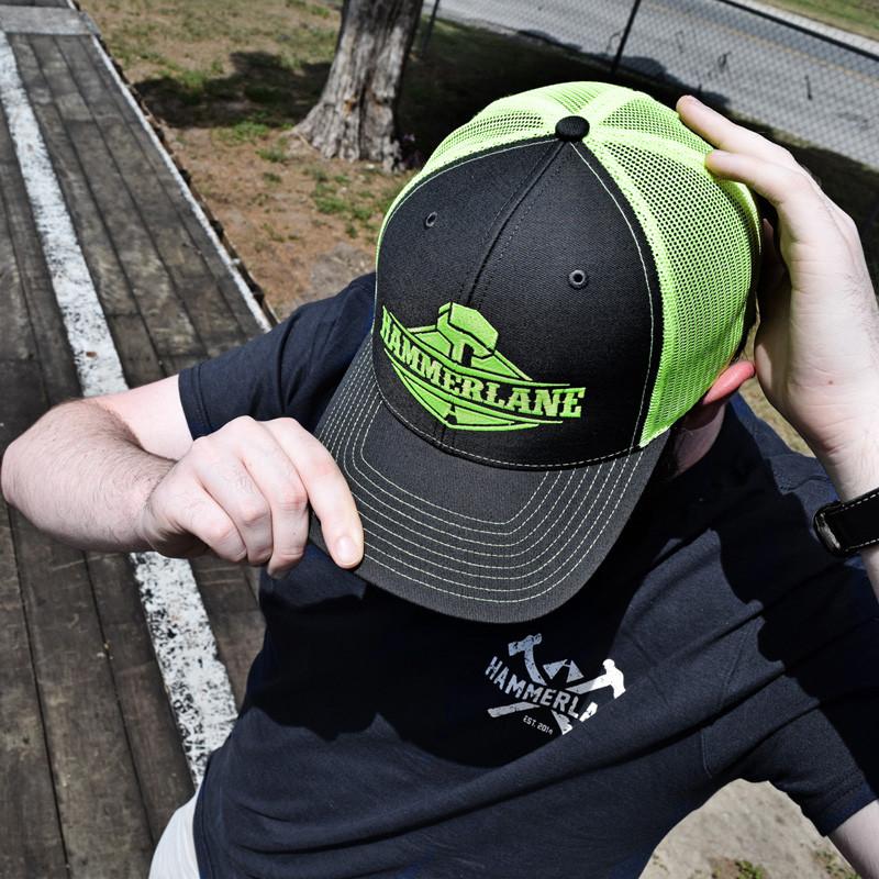 Snapback Neon Green Hammerlane Trucker Hat On Model