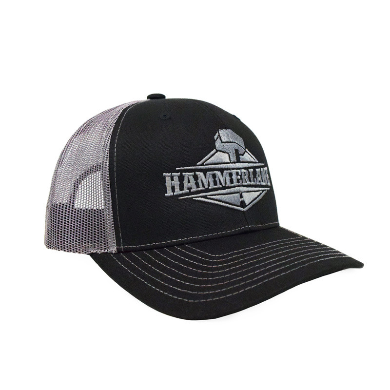 Hammerlane Silver Charcoal Snap Back Trucker Hat Angle