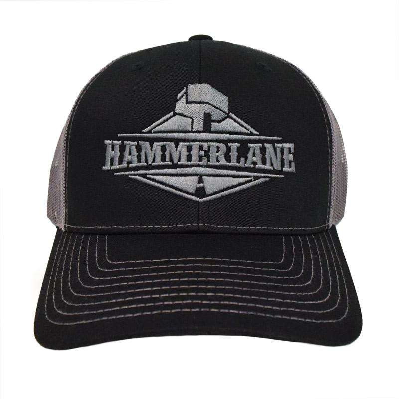 Hammerlane Silver Charcoal Snap Back Trucker Hat Front