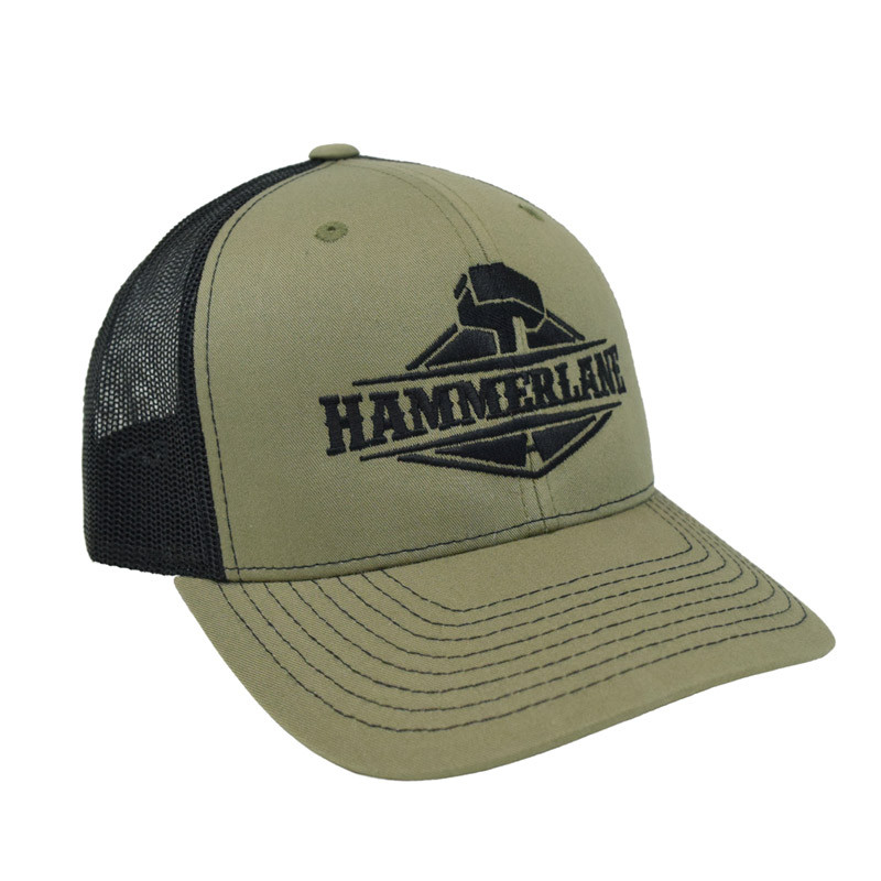 Snapback Army Green Hammerlane Trucker Hat Angle