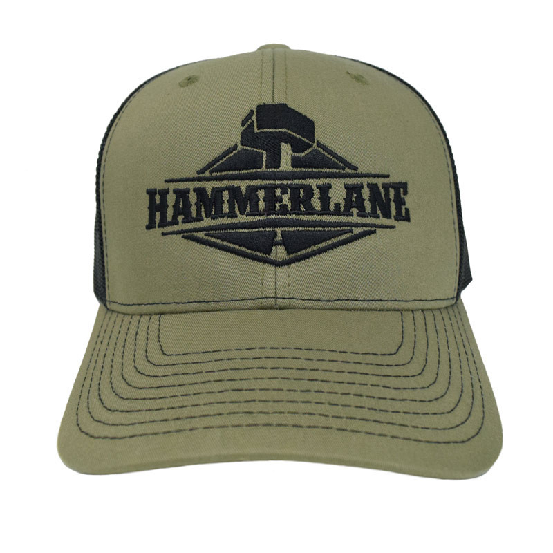 Snapback Army Green Hammerlane Trucker Hat Front