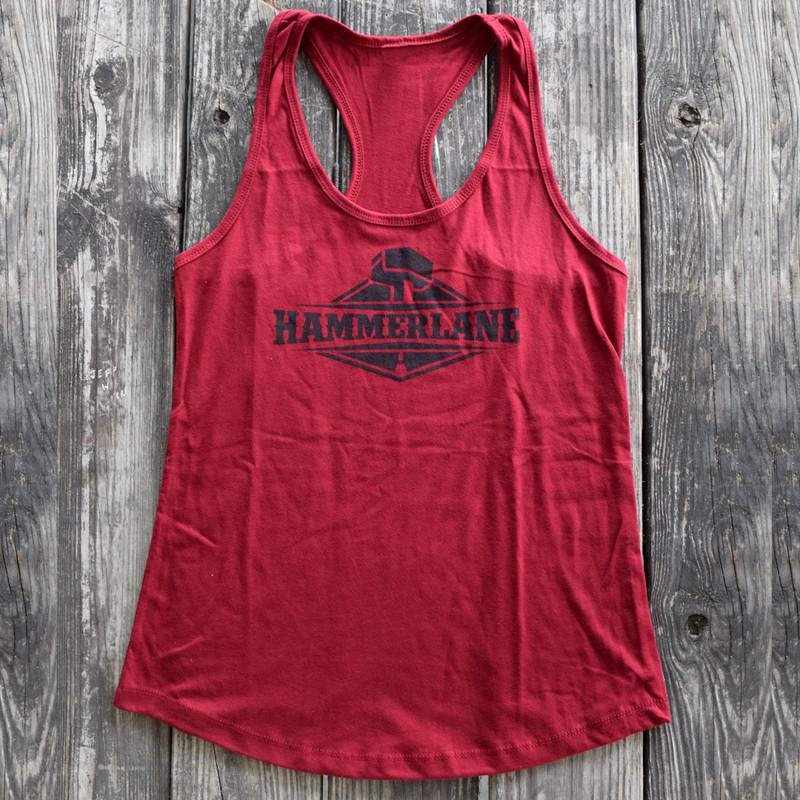 Ladies Hammer Lane Logo Tank Top Red On Pallet