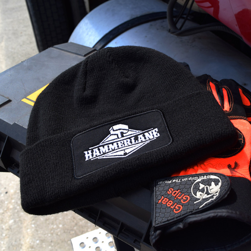 Black Hammer Lane Logo Beanie With Gloves