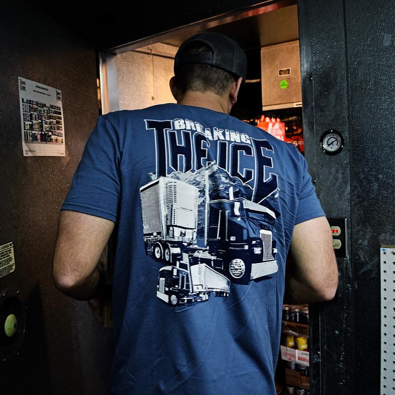 Breaking The Ice Hammer Lane T-Shirt On Model Side Angle 2
