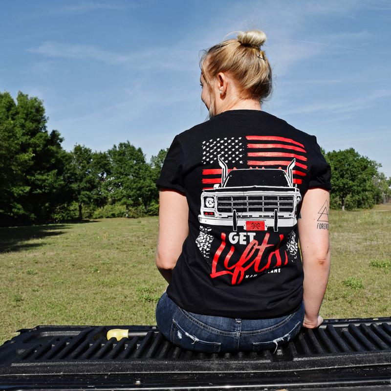 Get Lifted Hammerlane T-Shirt On Female Model Back