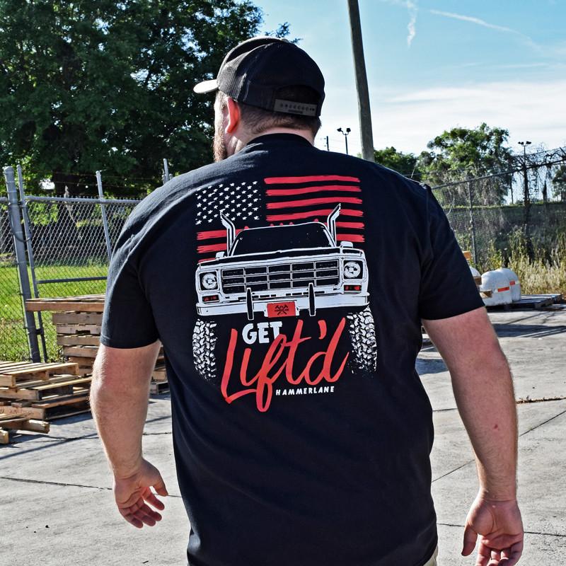 Get Lifted Hammerlane T-Shirt On Male Model Back