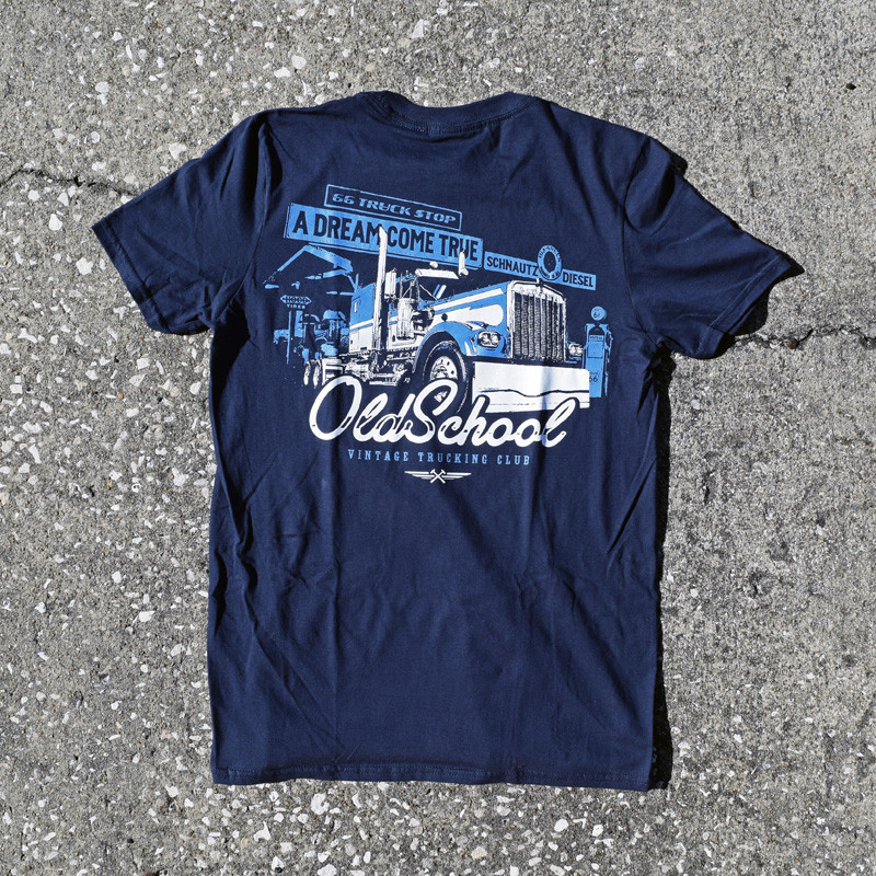 Old School Hammer Lane Trucker T-Shirt On Pavement