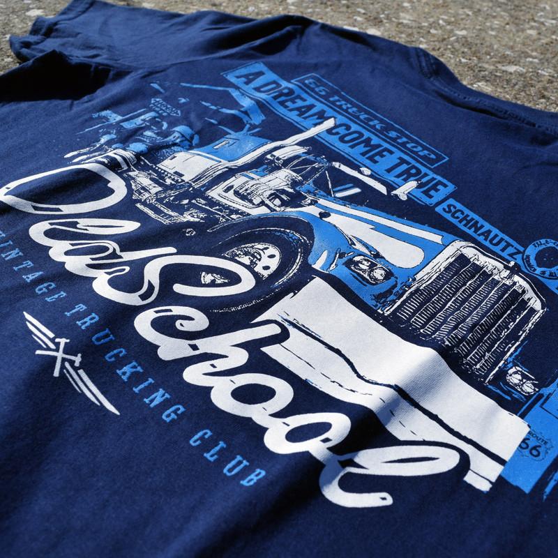 Old School Hammer Lane Trucker T-Shirt Design Closeup
