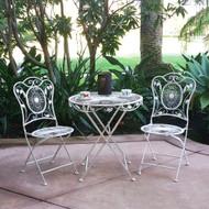 Modern Home Bordeaux Antiqued Iron 3pc Folding Bistro Set - Outdoor Conversation Set