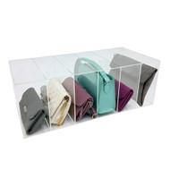 OnDisplay Deluxe Large Acrylic 6 Slot Purse/Handbag Organizer - Luxury Handmade Clear Acrylic Closet Clutch/Handbag Organization Station
