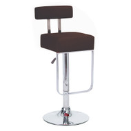 Set of 4 Modern Home Blok Contemporary Adjustable Height Bar/Counter Stool - Chrome Base/Footrest Barstool (Coffee Brown)