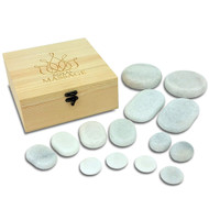 14pc Massage Marble Cold Stone Therapy Set w/Wooden Case