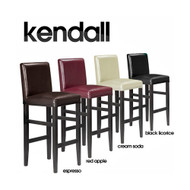 """Kendall Contemporary Wood/Faux Leather Barstool - 29"""" Bar Height Stool for Kitchen/Bar/Man Cave"""