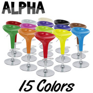Alpha Contemporary Bombo Style Adjustable Height Barstool - ABS Molded Bar Chair - Polished Chrome Steel Base with Floor Protecting Rubber Ring