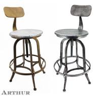 Arthur Retro Steel Rotating Adjustable Height Barstool
