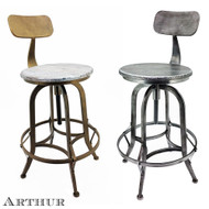 Arthur Retro Steel Rotating Adjustable Height Barstool