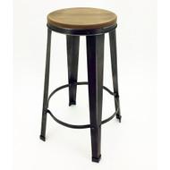 Gabriel Retro Contemporary Steel/Wood Barstool