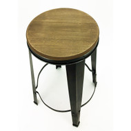 Gabriel Retro Contemporary Steel/Wood Barstool