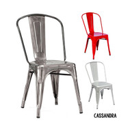Cassandra Contemporary Steel Stackable Tolix-Style Dining Chair