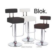 Modern Home Blok Contemporary Adjustable Height Bar/Counter Stool - Chrome Base/Footrest Barstool