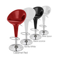 Beta Contemporary Bombo Style Adjustable Height Barstool - ABS Molded Bar Chair - Polished Chrome Steel Base with Floor Protecting Rubber Ring