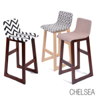 Chelsea Contemporary Wood/Fabric Barstool