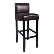 "Set of 2 Brooklyn Contemporary Wood/Faux Leather Barstool - 32"" Bar Height Stool for Kitchen/Bar/Man Cave (Espresso)"