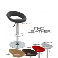 "Rho ""Leather"" Contemporary Adjustable Barstool"