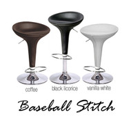 """Alpha """"Leather"""" Contemporary Bombo Style Adjustable Barstool"""