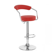 Zool Contemporary Adjustable Faux Leather Barstool