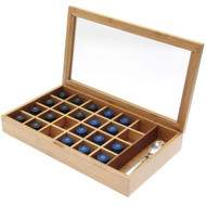 Modern Home Bamboo Nespresso 24 Capsule Organizer/Display Box with Accessory Section
