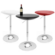 Alpha Contemporary Bombo Style Adjustable Height Bar Pub Table - Molded ABS Belly Table - Polished Chrome Steel Base with Floor Protecting Rubber Ring