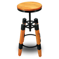 Set of 4 Wyland Rustic Contemporary Wood/Steel Barstool