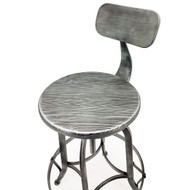 Set of 2 Arthur Retro Steel Rotating Adjustable Height Barstool - Vintage Pewter