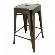 """Set of 4 Ajax 24"""" Contemporary Steel Tolix-Style Barstool - Distressed Copper"""