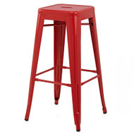 """Set of 4 Ajax 30"""" Contemporary Steel Tolix-Style Barstool - Red"""