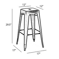 "Set of 4 Ajax 30"" Contemporary Steel Tolix-Style Barstool - Red"