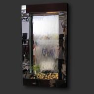 Modern Home Black Steel Wall Waterfall Fountain w/Mirror Inset - Indoor/Outdoor WWK1