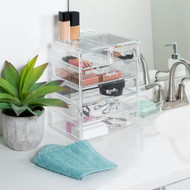 OnDisplay Cosmetic Makeup and Jewelry Storage Case Display - 6 Drawer Clear Design - Perfect for Vanity, Bathroom Counter, or Dresser