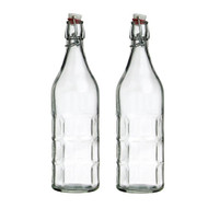 Modern Home 1L/34oz Culaccino Swing Top Round Glass Bottle - Clear/Green/Blue