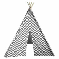 Modern Home Children's Oxford Tepee Set with Travel Case - Gray Chevron