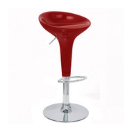 Set of 4 Alpha Contemporary Bombo Style Adjustable Height Barstools - ABS Molded Bar Chair - Polished Chrome Steel Base with Floor Protecting Rubber Ring (Cabernet Red)