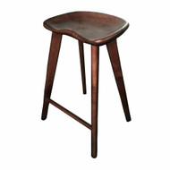 Set of 2 Tractor Contemporary Carved Wood Barstool - Espresso Finish