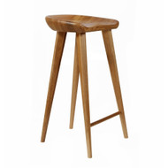 Set of 4 Tractor Contemporary Carved Wood Barstool - Walnut Finish