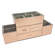 OnDisplay Amara 3 Drawer Tiered Rose Gold Mirrored Makeup/Jewelry Organizer