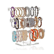 OnDisplay 3 Tier Acrylic Bracelet/Necklace/Bangle T-Bar Tree Stand - Hang all your Necklaces, Bracelets, Hair Ties, Bangles and Accessories