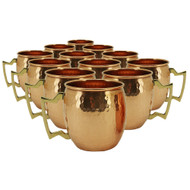 Set of 12 Modern Home Authentic 100% Solid Copper Hammered Moscow Mule Mug - Handmade in India