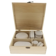 20pc Massage Marble Cold Stone Therapy Set w/Wooden Case