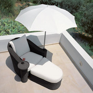 Modern Home Rattan Umbrella Lounger/Ottoman Set with Table and Umbrella
