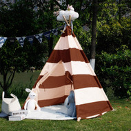 Modern Home Children's Canvas Tepee Set with Travel Case - Brown/White Stripes